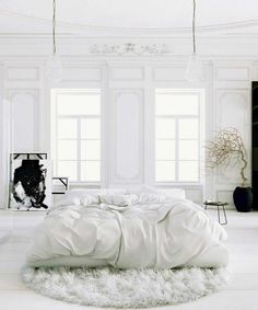 White Bedroom Interior Design Ideas & Pictures Parisian Apartment soft white bedroom with black accents and potted tree rugParisian Apartment soft white bedroom with black accents and potted tree rug White Bedroom Design, All White Bedroom, White Rooms, Dream Bedroom, Home Bedroom, Bedroom Decor, Bedroom Ideas, Bedroom Designs, White Bedding