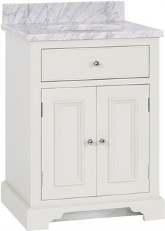 A small, sleek washstand with a contemporary marble top and neat cut out drawer.