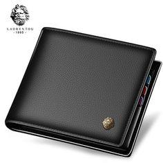 LAORENTOU Wallet Men 100% Genuine Leather Short Wallet Vintage Cow Leather  Casual Man Wallets Purse 2ad93007ff38