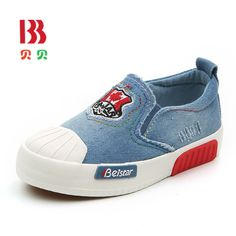 2017 New Children Canvas Kids Shoes Boy Sneakers Embroidery Badge Casual Denim Girls Flats Shoes For Spring Autumn 6851