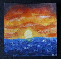 Carte de voeux coucher de soleil et océan : Cartes par cat-crea
