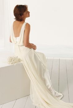 826130233936 Brides  Le Spose Di Giò. Chiffon top with deep back neckline