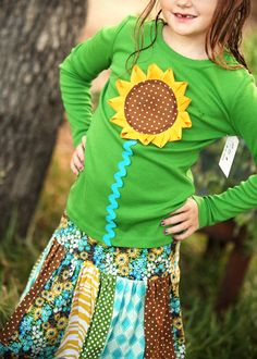 Celebrate Kansas Day next year!  Girls Sunflower Skirt and Shirt matching by mudpuddlesdandelions, $42.00