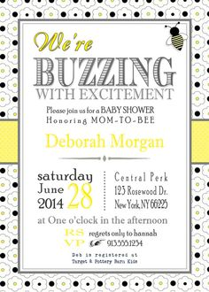 Baby Shower Invitation Yellow Bumble Honey Bee by KansasCardstock Babyparty-Einladungs-gelbe Hummel-Honig-Biene durch KansasCardstock Baby Shower Gender Reveal, Baby Boy Shower, Baby Showers, Baby Shower Themes Neutral, Bridal Showers, Bee Invitations, Baby Shower Invitations, Baby Shower Announcement, Mommy To Bee