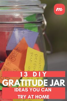 Have you ever heard of a gratitude jar? It's a great concept for kids or families to boost morale and really show each other what they are grateful for. It's a simple craft that anyone can make but there are tons of different types to try, so check out 13 of the best ideas we rounded up that will show you how to make gratitude jars right at home! #gratefulness #DIY #craftideas Easy Diy Crafts, Diy Home Crafts, Diy Craft Projects, Gratitude Jar, Jar Image, Finding Peace, Cool Fonts, Give Thanks, Happy Thoughts