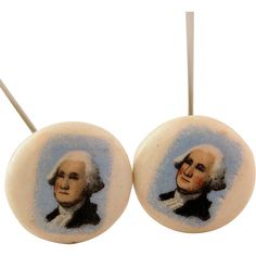 Miniature Portrait of President George Washington Hat Pins Two Matching Vintage Porcelain Hand Painted Hatpins from #AntikAvenue on #RubyLane #hatpins