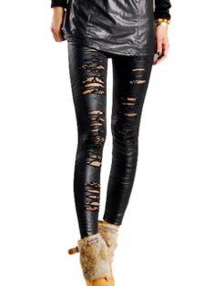 Shop Black Cut-out Spliced Lace Leather Leggings
