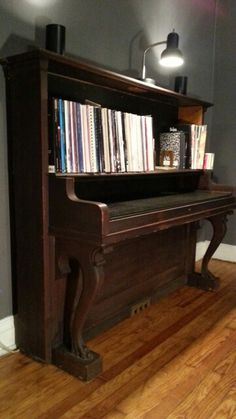 Writing desk and bookcase made from repurposed / upcycled 1890s Hamilton piano.
