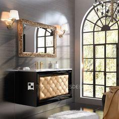 Mueble De Baño Capitoné 100cm 1C   Polipiel Color Nº27 + Lavabo Cover Plain  100cm +