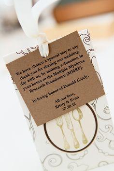donation wedding favours