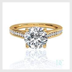 Bague de fiancaille solitaire diamant 0.50 carat or jaune. Ganna