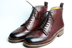 Handmade Goodyear Welted Brogue Carving Men's Boots,Brush Off