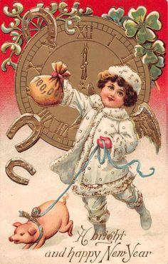 New Year Greetings Angel with Pig Antique Postcard J48789 | eBay