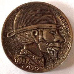 ADAM LEECH HOBO NICKEL: THE SNAKE OIL SALESMAN Hobo Nickel, Buffalo, Classic Style, Snake, Coins, Carving, Rooms, Wood Carvings, A Snake