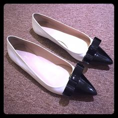 Kate Spade pointed toe bow flats white leather and patent black leather bow on toe. size 8 1/2. true to size. slight scratches on back of heel from normal wear. no other signs of use. like new! no box. NO TRADES kate spade Shoes Flats & Loafers