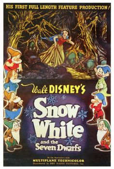 "CAST: Adriana Caselotti, Harry Stockwell, Lucille LaVerne, Moroni Olsen, Billy Gilbert, Pinto Colvig, Otis Harlan, Scotty Matraw; DIRECTED BY: David Hand; PRODUCER: Walt Disney; Features: - 27"" x 40"""
