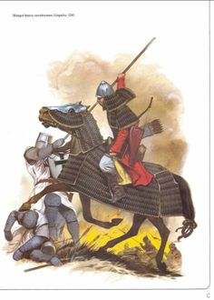 Mongol Heavy Cavalryman, Battle of Liegnitz, 1241 Military Art, Military History, Military Uniforms, Armadura Medieval, Historical Art, Historical Pictures, Knights Templar, Dark Ages, Medieval Fantasy