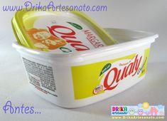 Artesanato em tecido: Veja um (LINDO) pote de margarina decorado