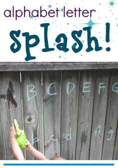alphabet letter splash–keeping cool with the abc's This alphabet letter splash is the perfect outdoor learning activity to keep kids cool in the summer and keep their brains sharp! Outdoor Activities For Kids, Outdoor Learning, Kids Learning Activities, Fun Learning, Babysitting Activities, Outdoor Education, Toddler Learning, Summer Activities For Preschoolers, Teaching Resources