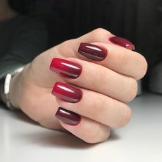 OHHH this is a really nice red gradient color and design, nail art ideas #unas #nailart