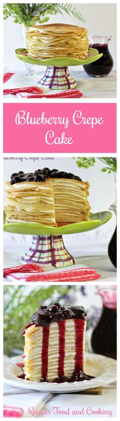 I love making crepes and especially that they can be sweet or savory. Today I'm doing a dessert with them that has a cream cheese filling and a blueberry topping. Blueberry Crepe Cake Hi everyone, Köstliche Desserts, Delicious Desserts, Yummy Food, Sweet Recipes, Cake Recipes, Dessert Recipes, Blueberry Crepes, Blueberry Sauce, Cupcake Cakes