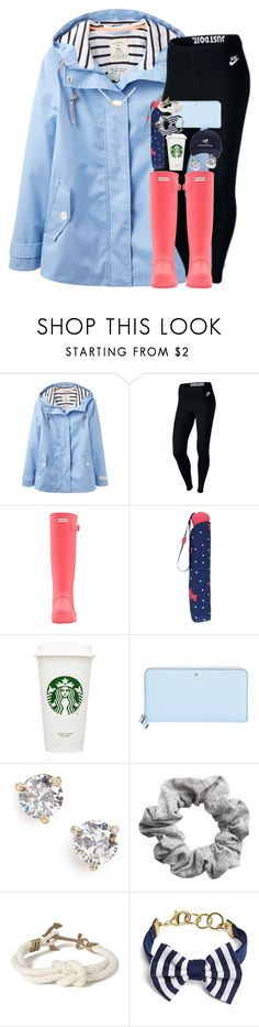 """it's rainingg☔️⛈"" by kate-elizabethh ❤ liked on Polyvore featuring Joules, NIKE, Hunter, Radley, Kate Spade, H&M, Kiel James Patrick, Brooks Brothers and Kendra Scott"