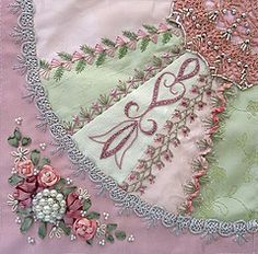 oh WOW !  Look at all the beautiful lace work. Probably a Embroidery machine done. I love it. Would love to do something like this.    Crazy Quilt Block