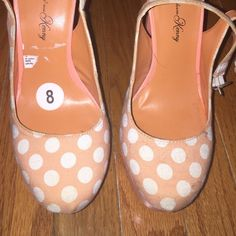 Used heels Penny loves Kenny heels. Peachy color with white polka dots. Used in good condition. Platform in front. Cute. Shoes Heels
