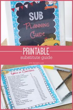 Printable Substitute Guide for Preschool and Kindergarten Teachers.