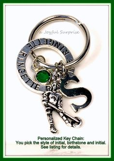 Ringette Key Chain, Personalized Ringette Keychain, Silver Ringette Keyring…