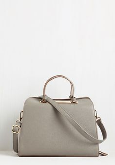 In Pursuit of Panache Bag. Already on the fast track toward achieving your career goals, you now turn your attention to this vegan faux-leather carryall. #grey #modcloth