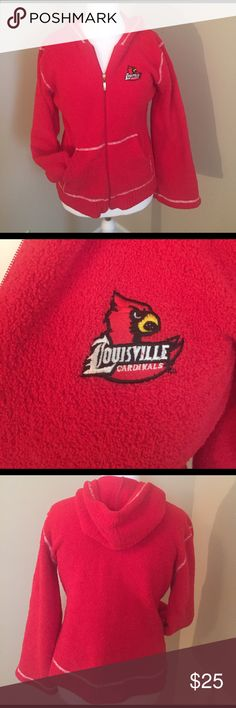 Louisville Cardinals red hoodie Plush and comfy feeling red hoodie with white stitching. Go Cards! Kashwear Tops Sweatshirts & Hoodies