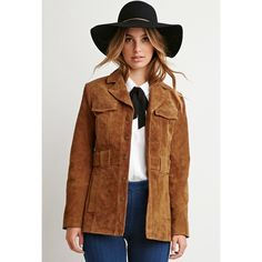 """Forever 21 genuine suede jacket New with tags. Weighty jacket. Long sleeve and button closure. Collar and mock trench belt. Shell is 100% leather. Lining is polyester. Approx 26.5"""" long, 17.5"""" pit to pit. No trades or Paypal. Forever 21 Jackets & Coats"""