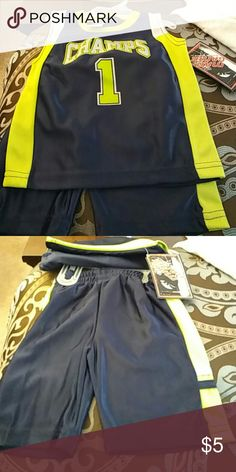 Boys shorts outfit Boys navy,lime green,with white trim jersey with matching shorts. mad game Matching Sets