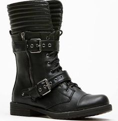 Dollhouse Mid Calf Double Buckle Lace Up Black Boots