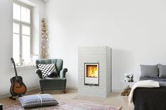 Tulikivi Kide 4 fireplace in white