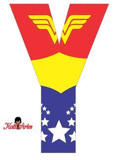 EUGENIA - KATIA ARTES - BLOG DE LETRAS PERSONALIZADAS E ALGUMAS COISINHAS: Alfabeto e Números MULHER MARAVILHA Wonder Woman Birthday, Wonder Woman Party, Superhero Birthday Party, Girl Birthday, Women Birthday, Superhero Alphabet, Wander Woman, Hero Girl, Girl Themes