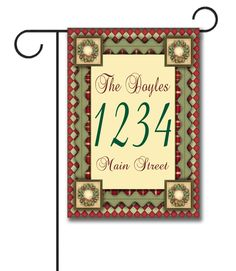 """Christmas Magic – Address Garden Flag – 12.5"""" x 18""""  Flag stand sold separately Proudly Printed in the USA Vibrant colors printed on a poly/cotton outdoor quality fabric. Digitally printed on both sides of the fabric. Two fabric options given at checkout."""