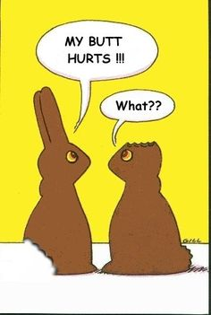 Chocolate bunny..with missing parts ( such as ears) ....makes me want to have some chocolate ASAP  Home family quotes chiari and syringomyelia: Funny Easter Quotes