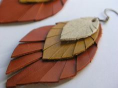 Layered Leather Feather Earrings ivory gold and burnt by lindalu, $15.00