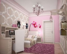Great Makeover Pictures Of Teens Room Design Ideas: Wonderful Interior In Pink Theme Girls Teens Room Ideas With Pink Furry Rug And White Platform Bed Also White Shade Chandeliers And Wall Mounted Wood Bookshelf ~ gacahome.com Bedroom Inspiration