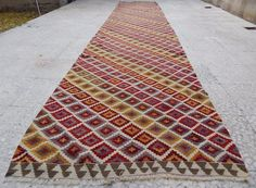 15 Foot Vintage Extra Long And Wide Handmade Wool Turkish Hall Kilim Rug  Runner #Turkish