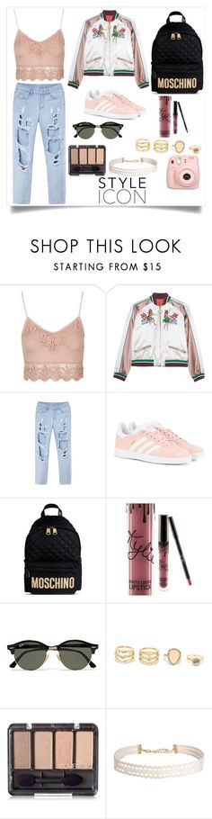 """""""Untitled #141"""" by loverofharrystyles ❤ liked on Polyvore featuring Topshop, adidas Originals, Moschino, Kylie Cosmetics, Ray-Ban, LULUS, Humble Chic and Fujifilm"""