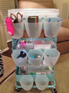 The Levan Family: PL Organization - IKEA Raskog cart with hanging cups also from… Craft Room Storage, Craft Organization, Organizing Crafts, Craft Rooms, Ikea Raskog, Raskog Cart, Craft Shed, Scrapbook Storage, Art Cart