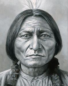 """Sitting Bull,"" acrylic, 14 x 11 canvas, by Stu Braks"