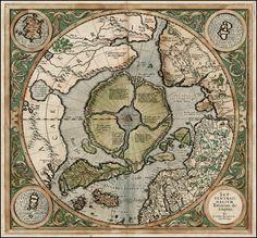Septentrionalium Terrarum descriptio by Gerard Mercator. Amsterdam, 1595. [1723 × 1600]