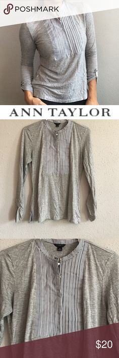 Ann Taylor gray long sleeve top Ann Taylor gray long sleeve top. With blue and white strip in front. Ann Taylor Tops Blouses