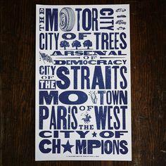 $25 Detroit Nicknames Letterpress print