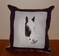 Commissioned item, horse cushion, handpainted by me with fabric paints and then made into a cushion