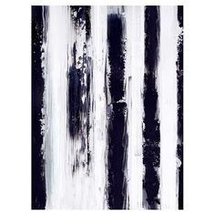 Add a stylish touch to your well-appointed home with this chic canvas wall art, showcasing black and white striping for eye-catching appeal.   ...